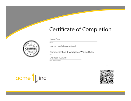 Sample CompletionCertificate with QR code