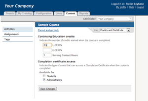 Credits and Certificate page